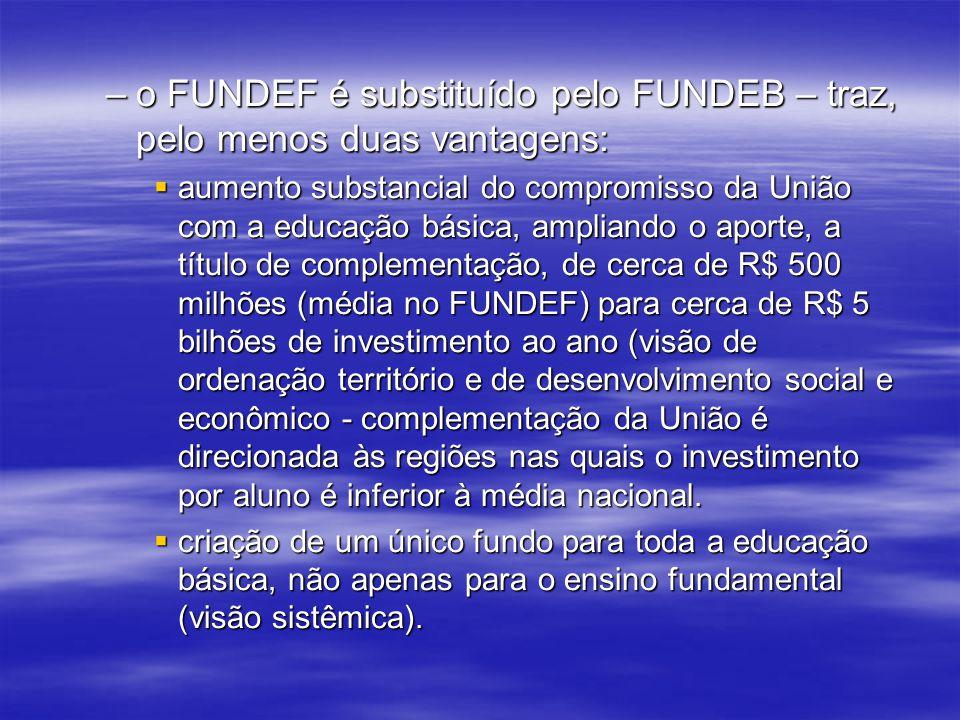 o FUNDEF é substituído pelo FUNDEB – traz, pelo menos duas vantagens: