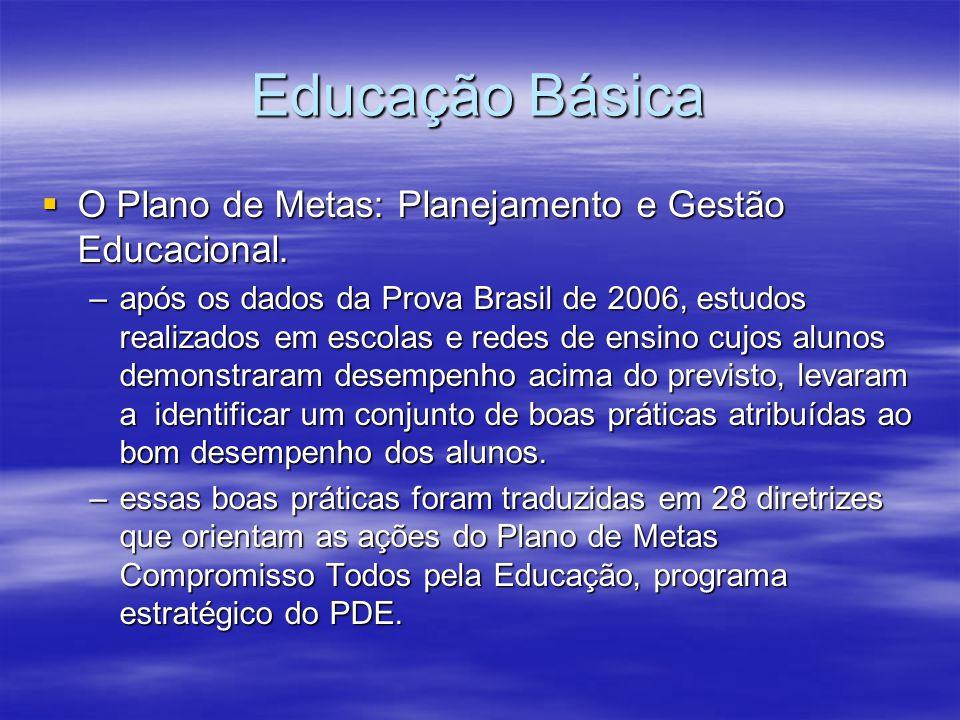 Educação Básica O Plano de Metas: Planejamento e Gestão Educacional.