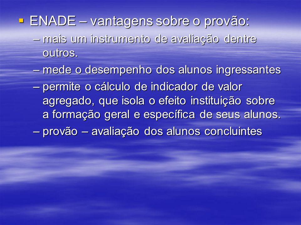 ENADE – vantagens sobre o provão: