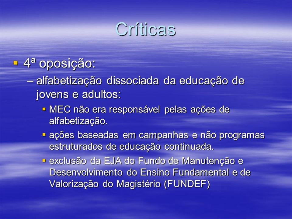 Críticas 4ª oposição: alfabetização dissociada da educação de jovens e adultos: MEC não era responsável pelas ações de alfabetização.