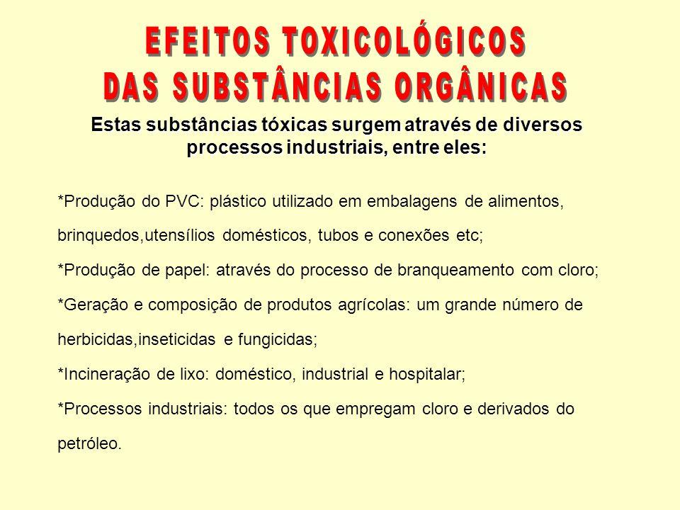 EFEITOS TOXICOLÓGICOS DAS SUBSTÂNCIAS ORGÂNICAS