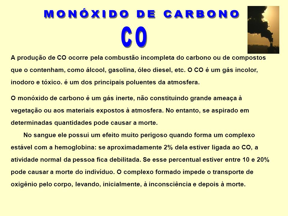 MONÓXIDO DE CARBONO CO.