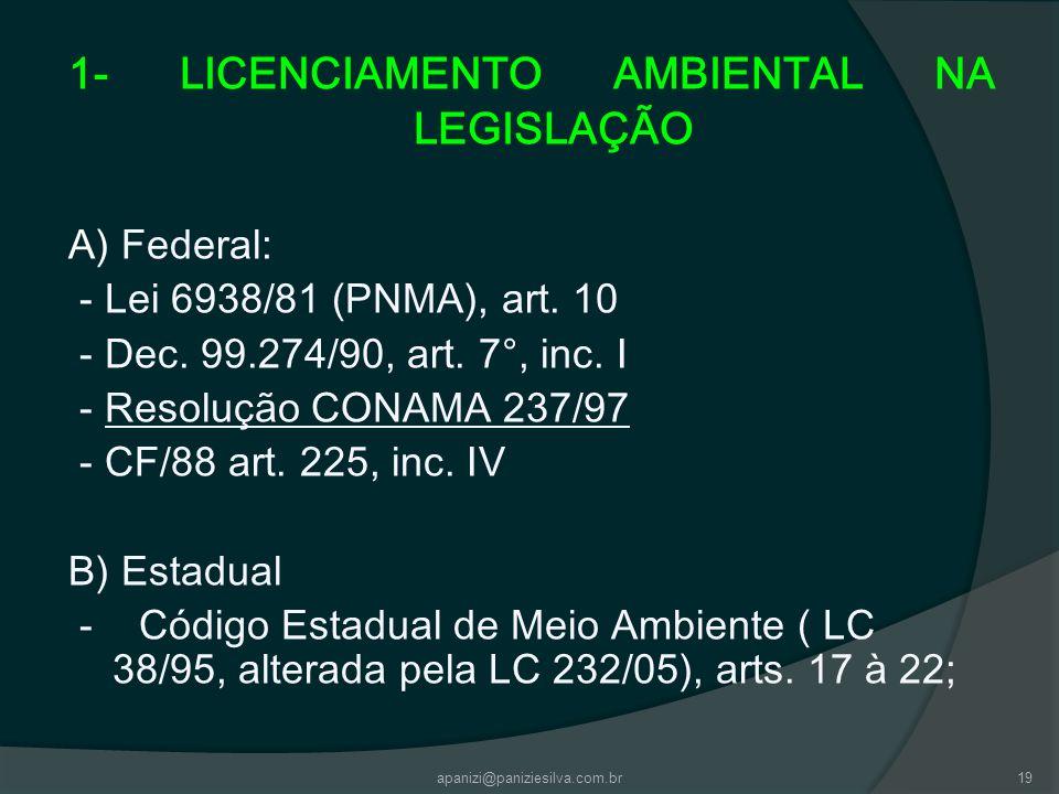 1- LICENCIAMENTO AMBIENTAL NA LEGISLAÇÃO
