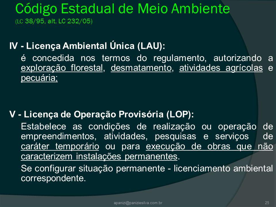 Código Estadual de Meio Ambiente (LC 38/95, alt. LC 232/05)