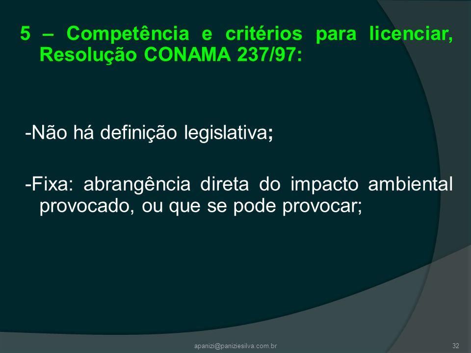5 – Competência e critérios para licenciar, Resolução CONAMA 237/97:
