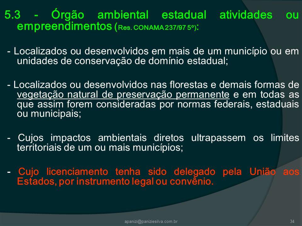 5. 3 - Órgão ambiental estadual atividades ou empreendimentos (Res