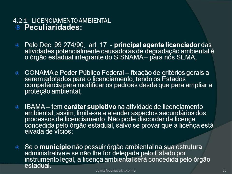 4.2.1 - LICENCIAMENTO AMBIENTAL