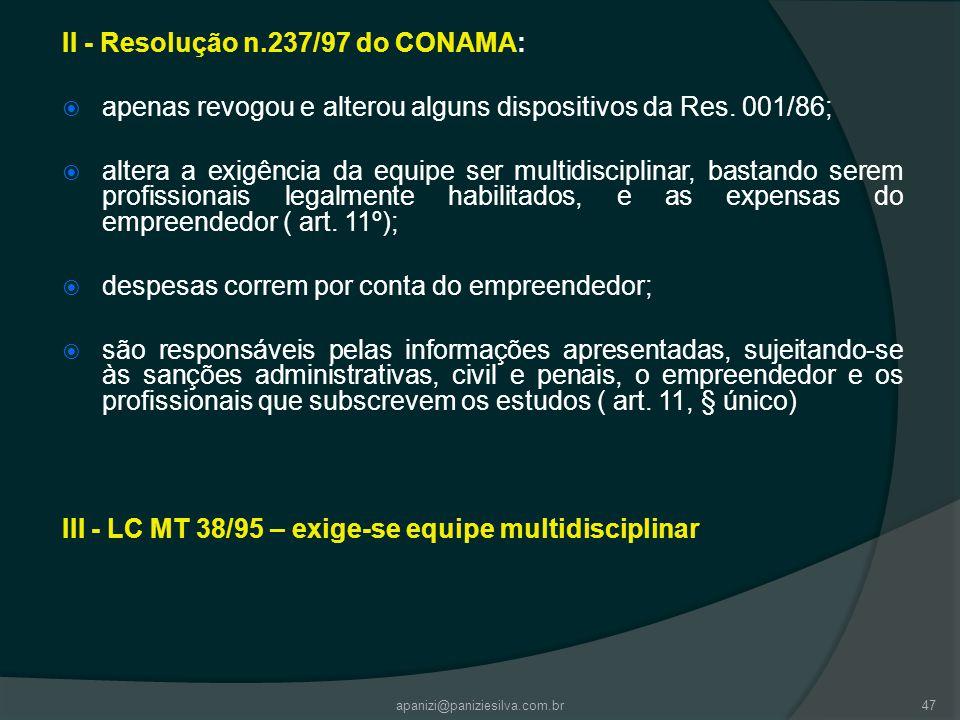 II - Resolução n.237/97 do CONAMA: