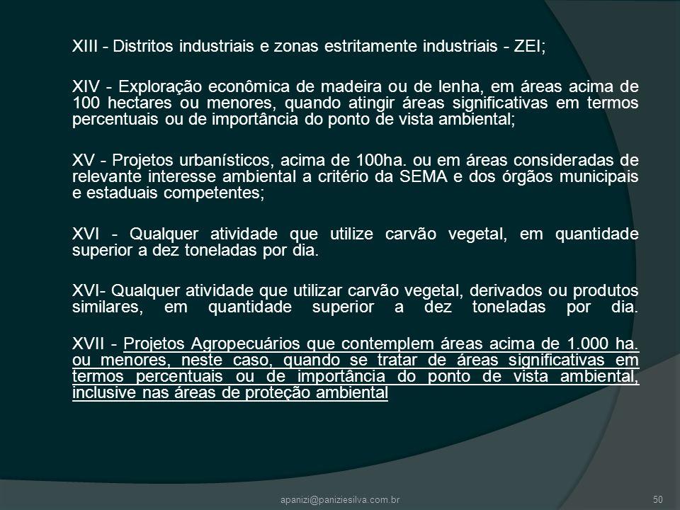XIII - Distritos industriais e zonas estritamente industriais - ZEI;