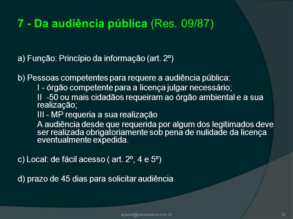 7 - Da audiência pública (Res. 09/87)
