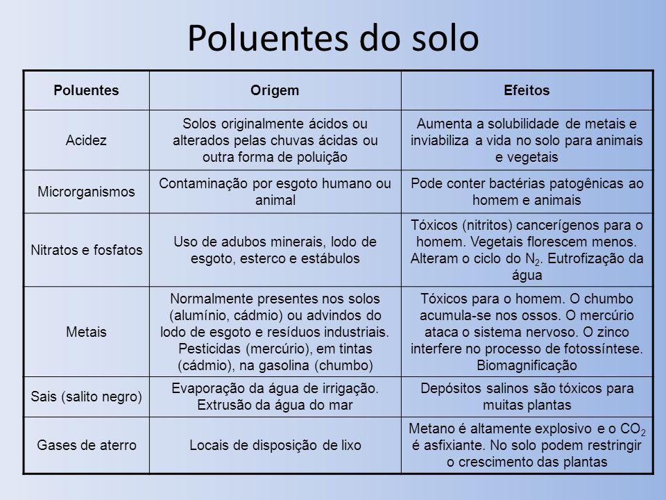 Poluentes do solo Poluentes Origem Efeitos Acidez
