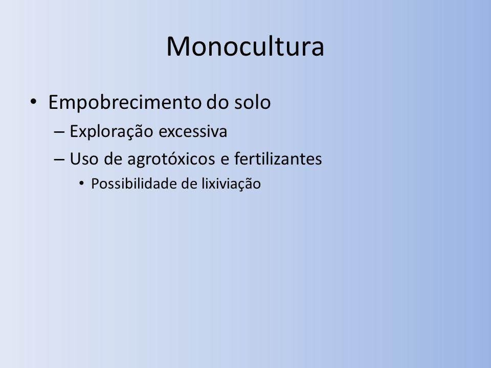 Monocultura Empobrecimento do solo Exploração excessiva