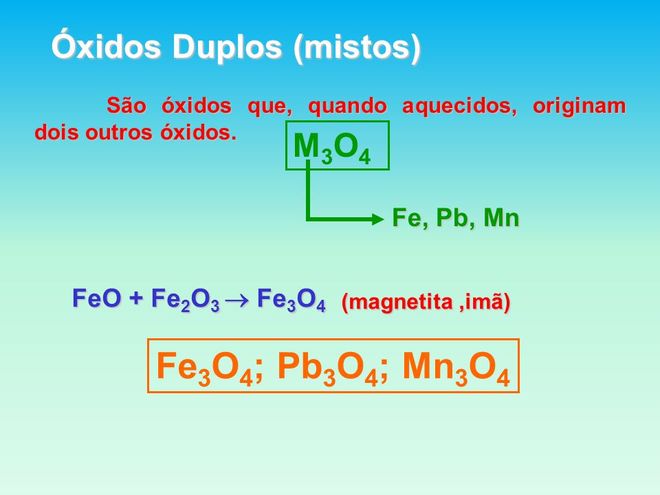 Fe3O4; Pb3O4; Mn3O4 Óxidos Duplos (mistos) M3O4 Fe, Pb, Mn