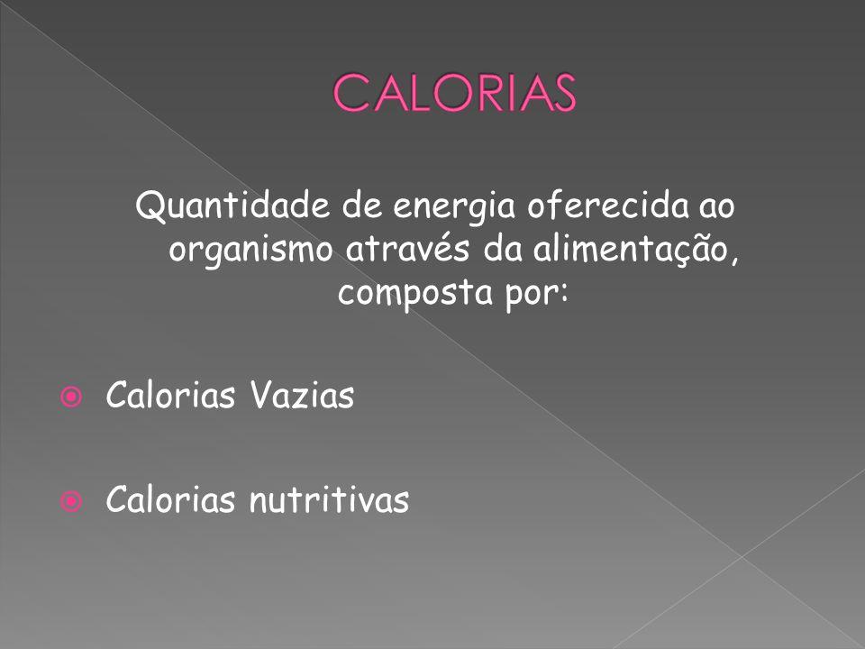 CALORIAS Quantidade de energia oferecida ao organismo através da alimentação, composta por: Calorias Vazias.
