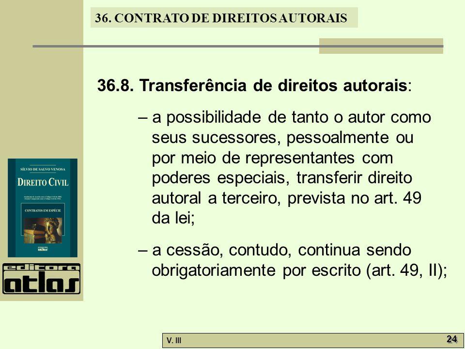 36.8. Transferência de direitos autorais: