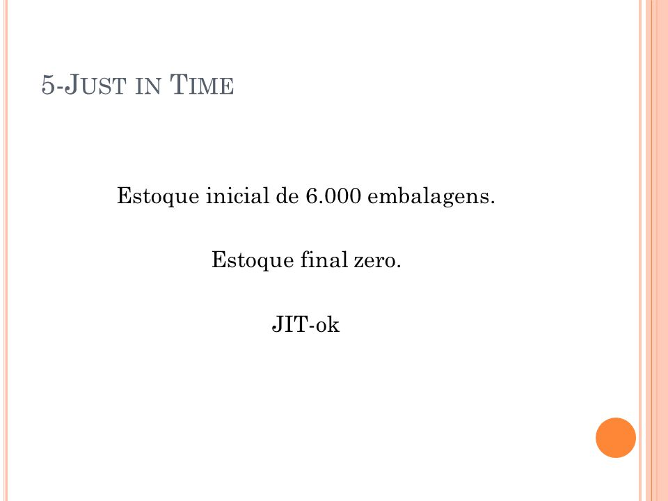 Estoque inicial de 6.000 embalagens. Estoque final zero. JIT-ok