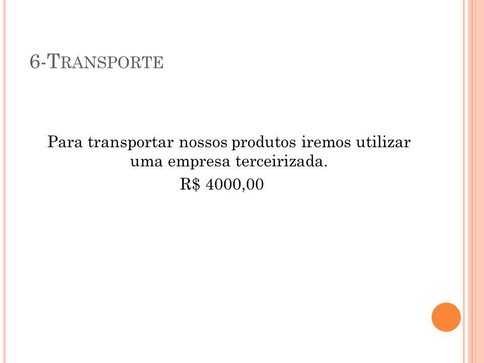 6-Transporte Para transportar nossos produtos iremos utilizar uma empresa terceirizada. R$ 4000,00
