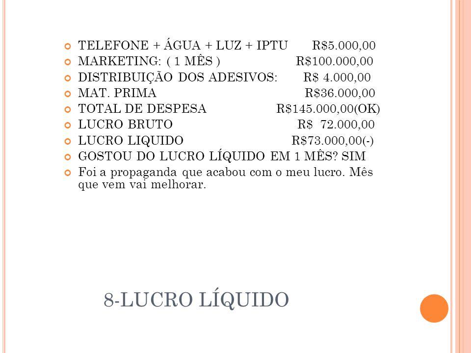 8-LUCRO LÍQUIDO TELEFONE + ÁGUA + LUZ + IPTU R$5.000,00