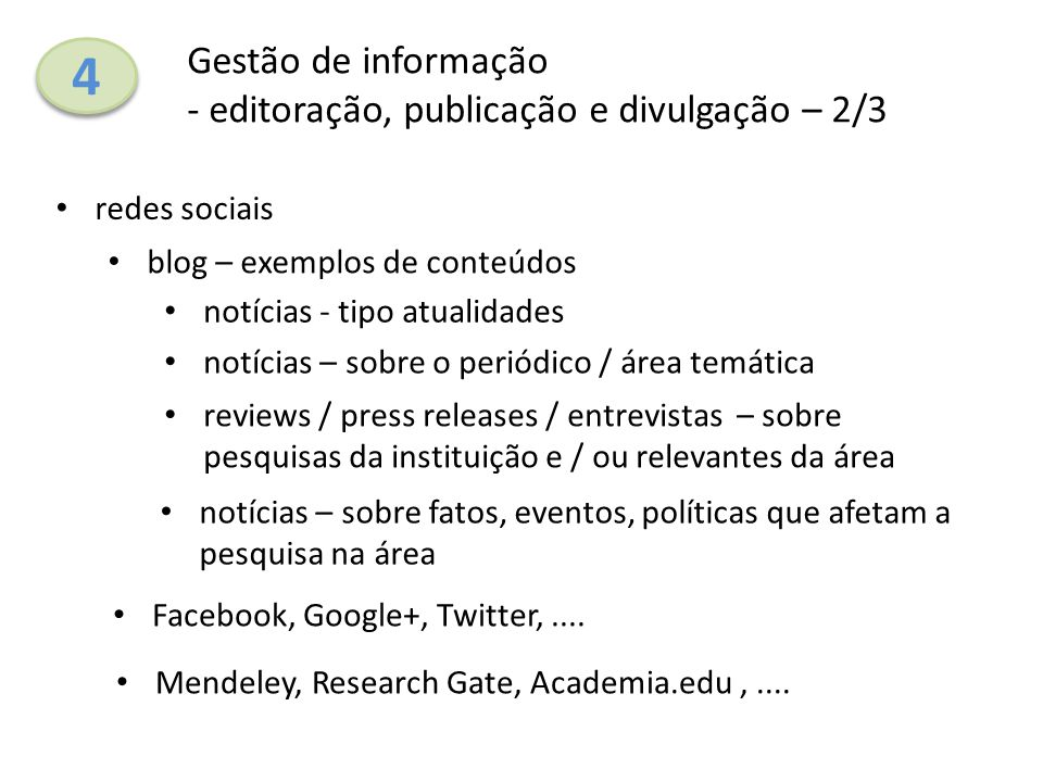 4 Gestão de informação - editoração, publicação e divulgação – 2/3