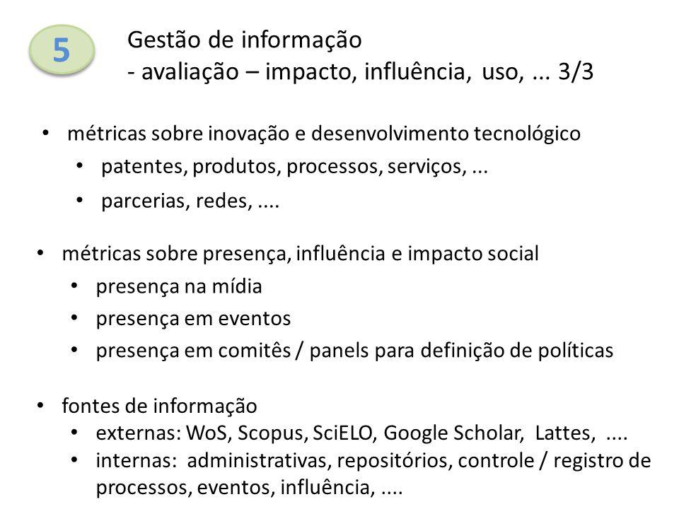 5 Gestão de informação - avaliação – impacto, influência, uso, ... 3/3