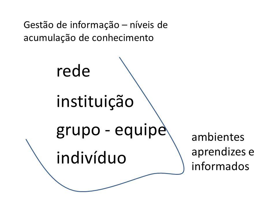 rede instituição grupo - equipe indivíduo