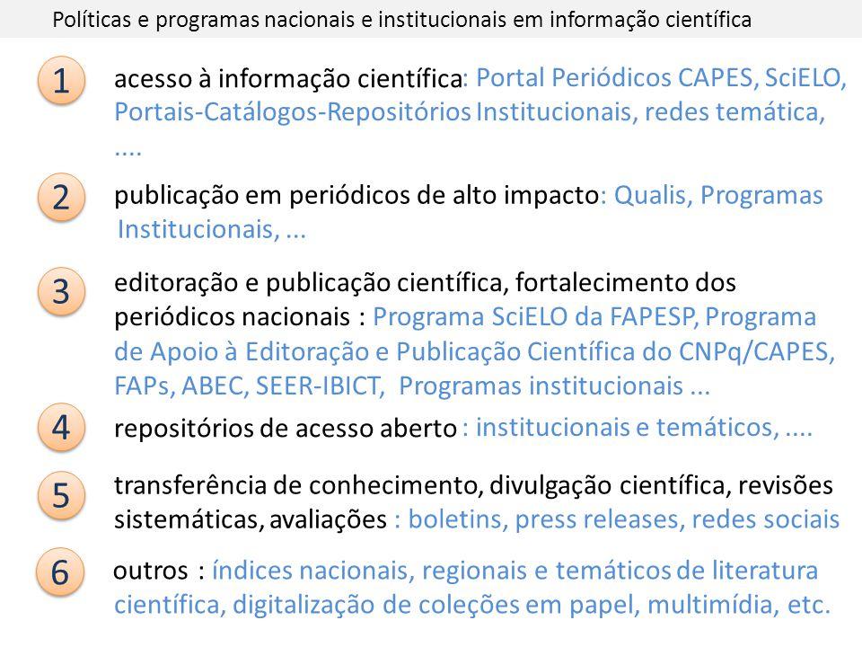 Políticas e programas nacionais e institucionais em informação científica
