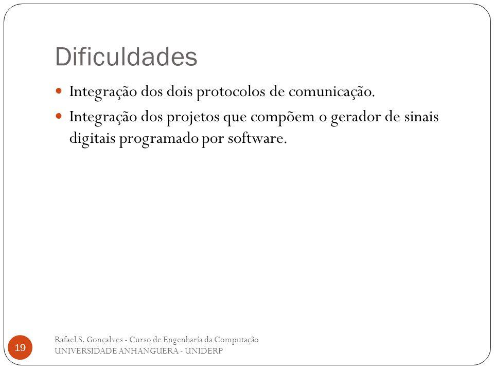 Dificuldades Integração dos dois protocolos de comunicação.