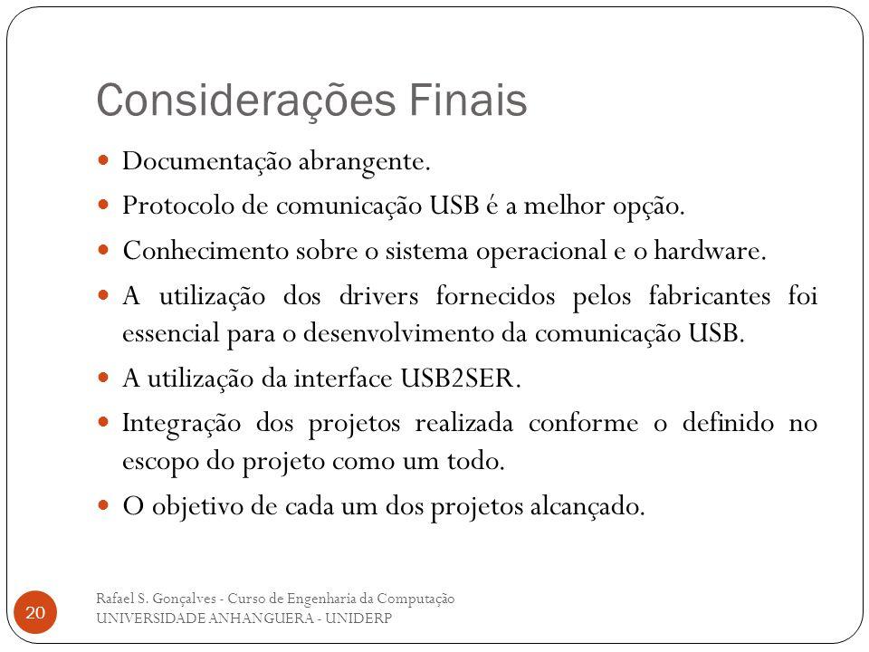 Considerações Finais Documentação abrangente.