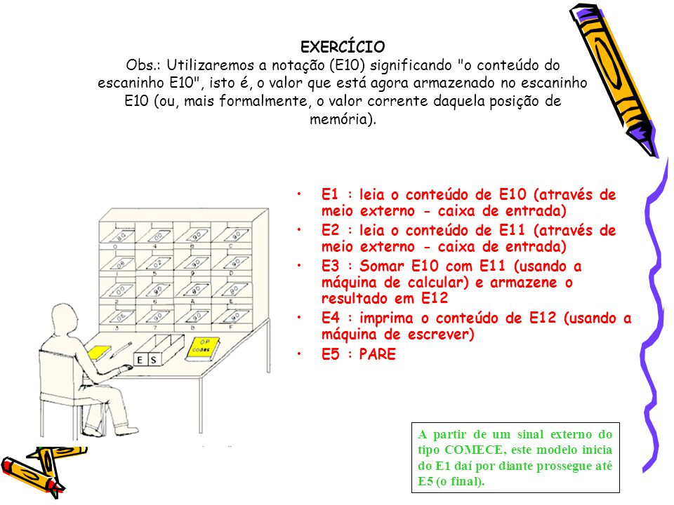 E4 : imprima o conteúdo de E12 (usando a máquina de escrever)