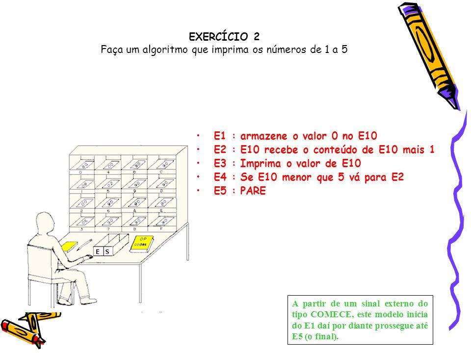 EXERCÍCIO 2 Faça um algoritmo que imprima os números de 1 a 5