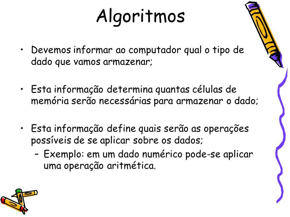 Algoritmos Devemos informar ao computador qual o tipo de dado que vamos armazenar;