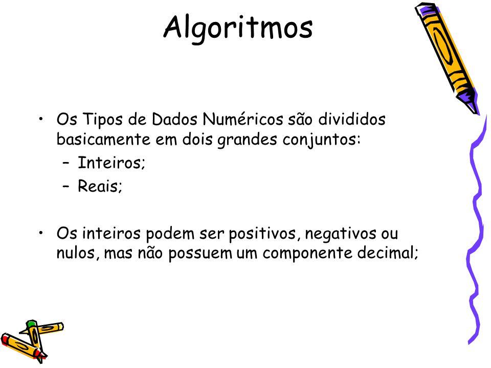 Algoritmos Os Tipos de Dados Numéricos são divididos basicamente em dois grandes conjuntos: Inteiros;