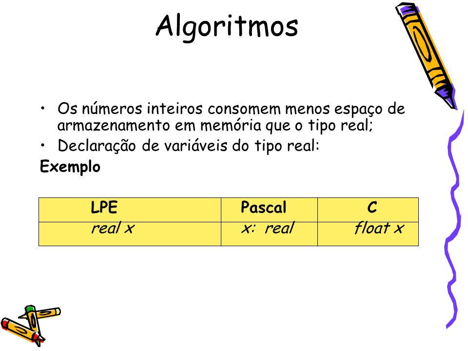 Algoritmos Os números inteiros consomem menos espaço de armazenamento em memória que o tipo real; Declaração de variáveis do tipo real: