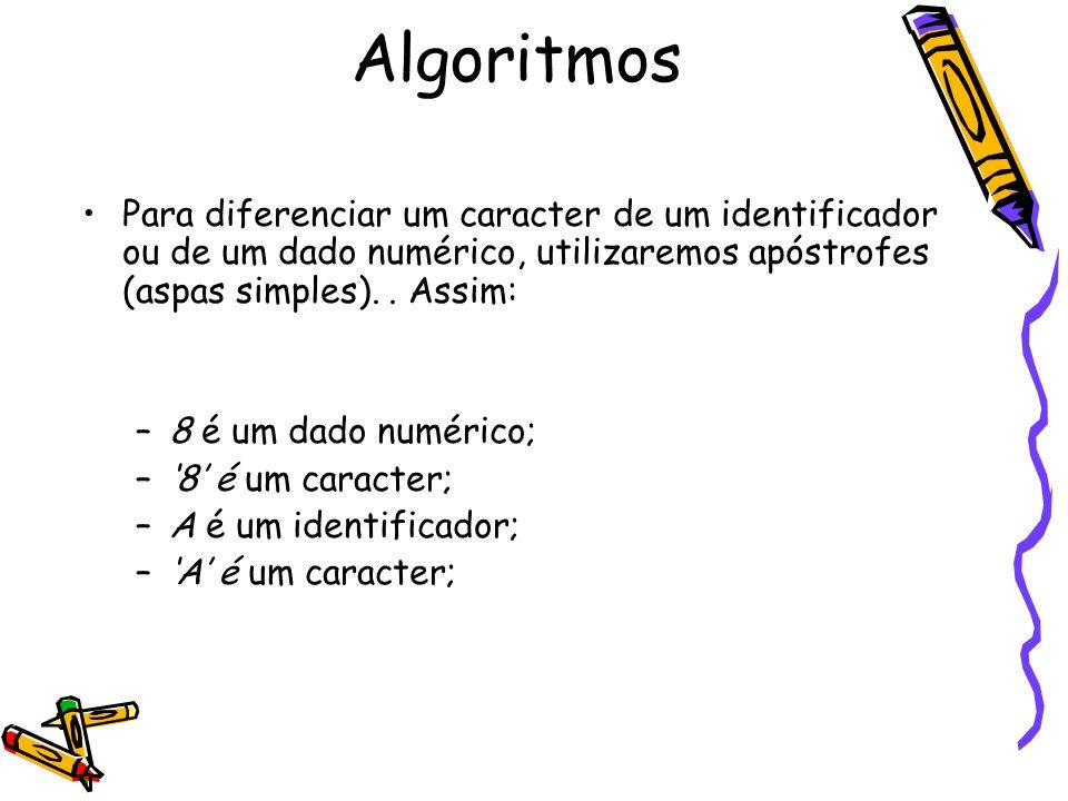 Algoritmos Para diferenciar um caracter de um identificador ou de um dado numérico, utilizaremos apóstrofes (aspas simples). . Assim: