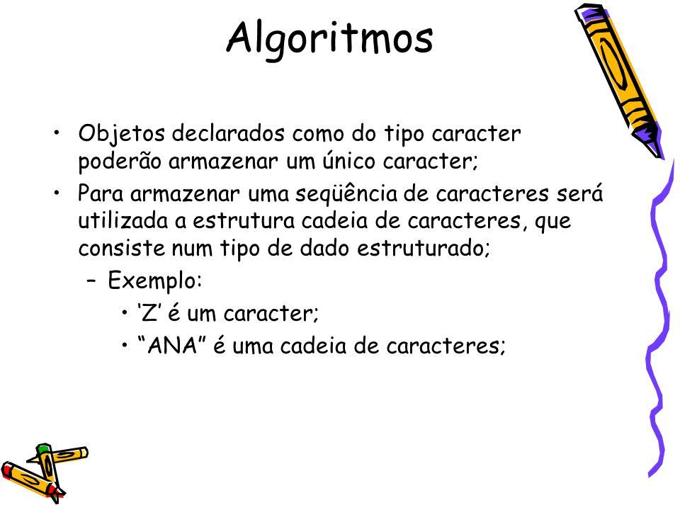Algoritmos Objetos declarados como do tipo caracter poderão armazenar um único caracter;