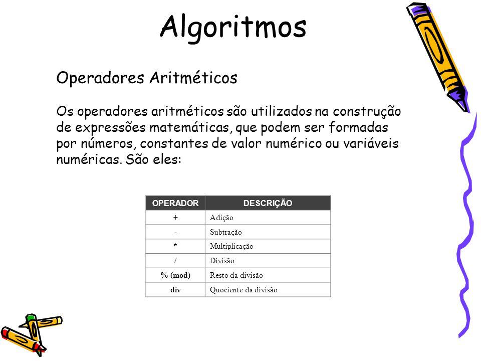 Algoritmos Operadores Aritméticos