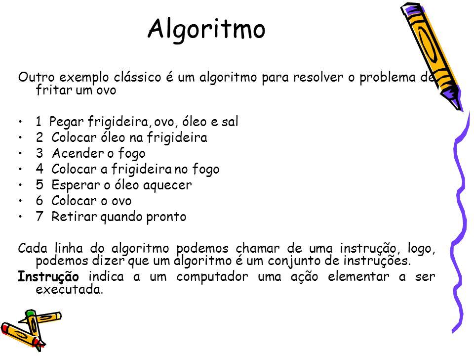 Algoritmo Outro exemplo clássico é um algoritmo para resolver o problema de fritar um ovo. 1 Pegar frigideira, ovo, óleo e sal.