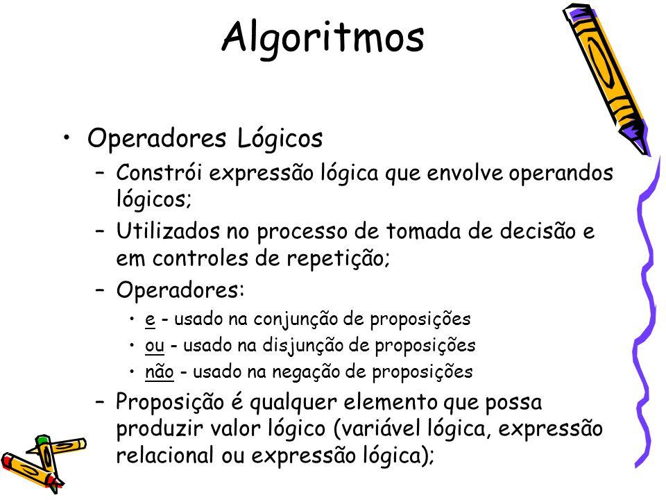 Algoritmos Operadores Lógicos