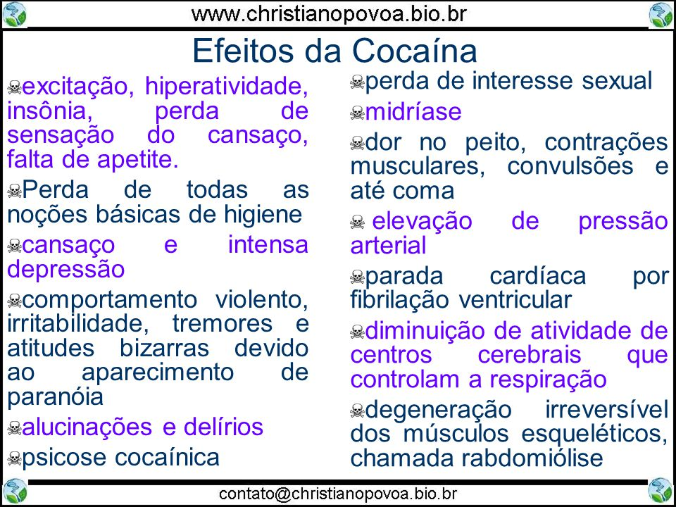 Efeitos da Cocaína perda de interesse sexual