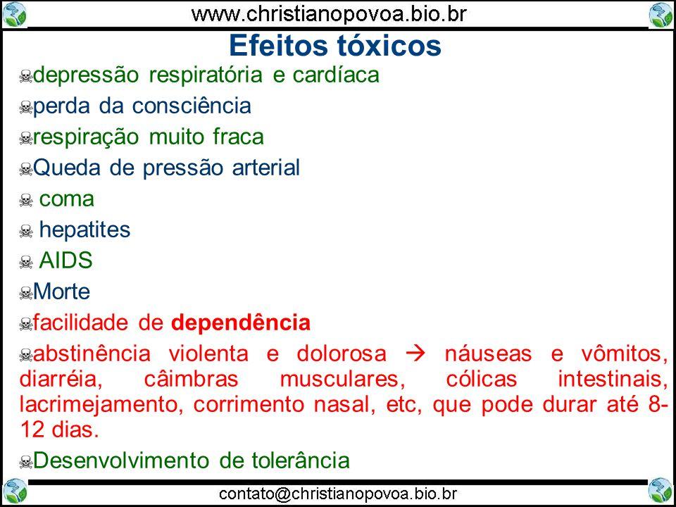 Efeitos tóxicos depressão respiratória e cardíaca perda da consciência