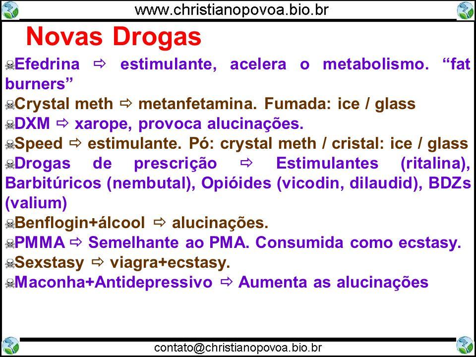 Novas Drogas Efedrina  estimulante, acelera o metabolismo. fat burners Crystal meth  metanfetamina. Fumada: ice / glass.