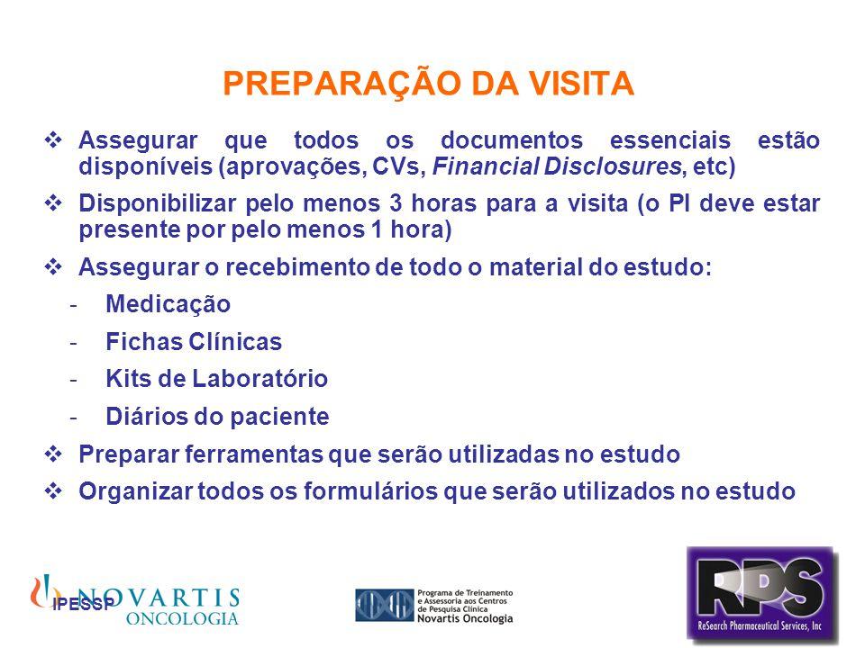 PREPARAÇÃO DA VISITA Assegurar que todos os documentos essenciais estão disponíveis (aprovações, CVs, Financial Disclosures, etc)