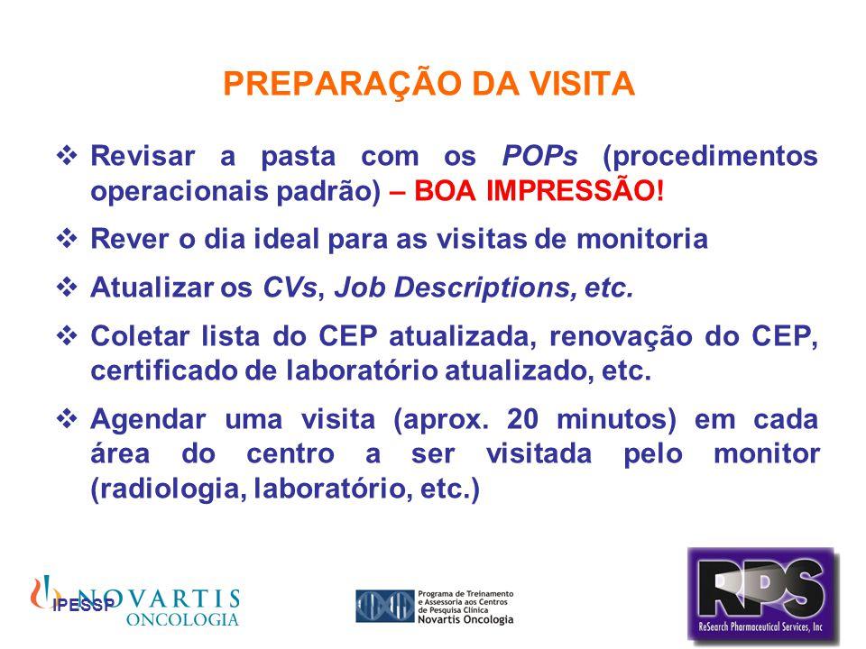 PREPARAÇÃO DA VISITA Revisar a pasta com os POPs (procedimentos operacionais padrão) – BOA IMPRESSÃO!