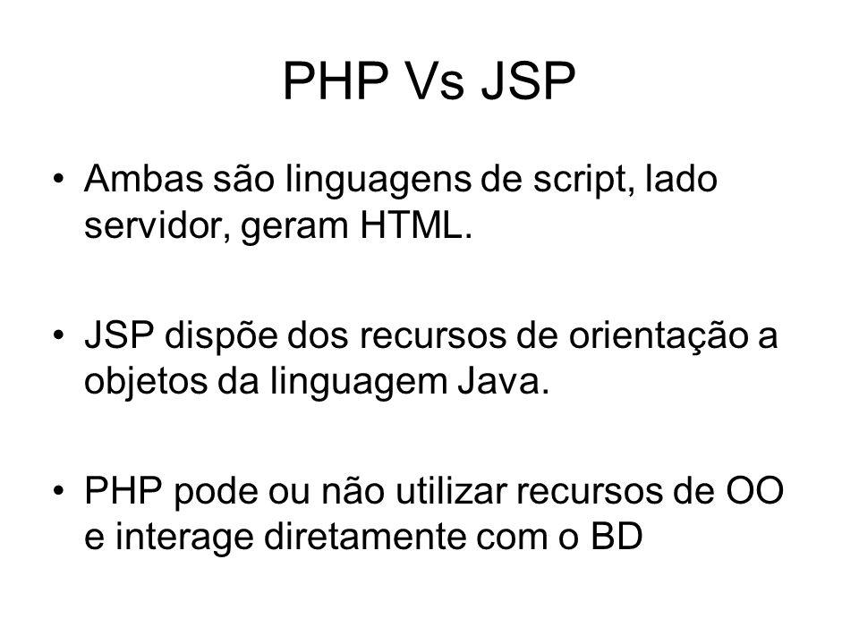 PHP Vs JSP Ambas são linguagens de script, lado servidor, geram HTML.