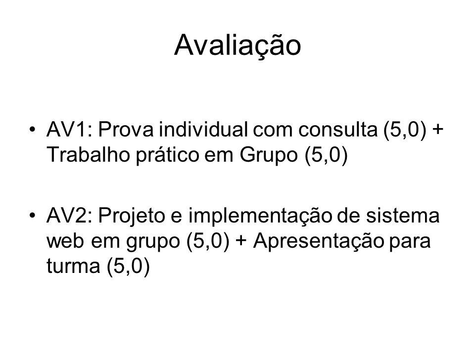 Avaliação AV1: Prova individual com consulta (5,0) + Trabalho prático em Grupo (5,0)