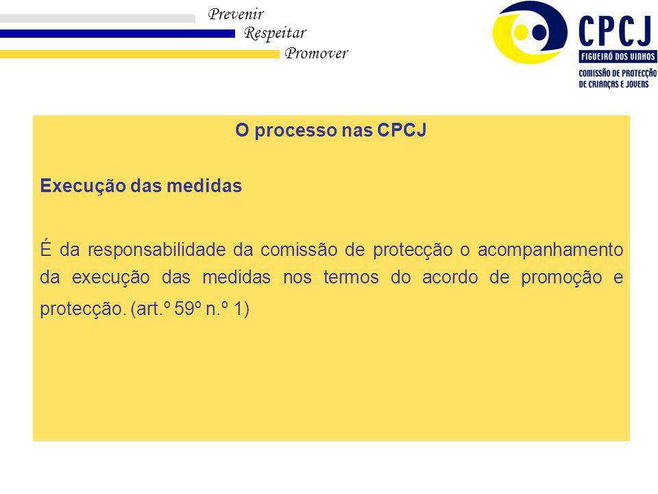 O processo nas CPCJ Execução das medidas.