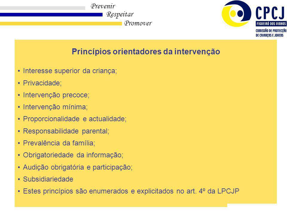 Princípios orientadores da intervenção