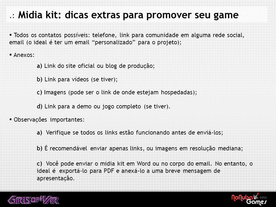 .: Midia kit: dicas extras para promover seu game