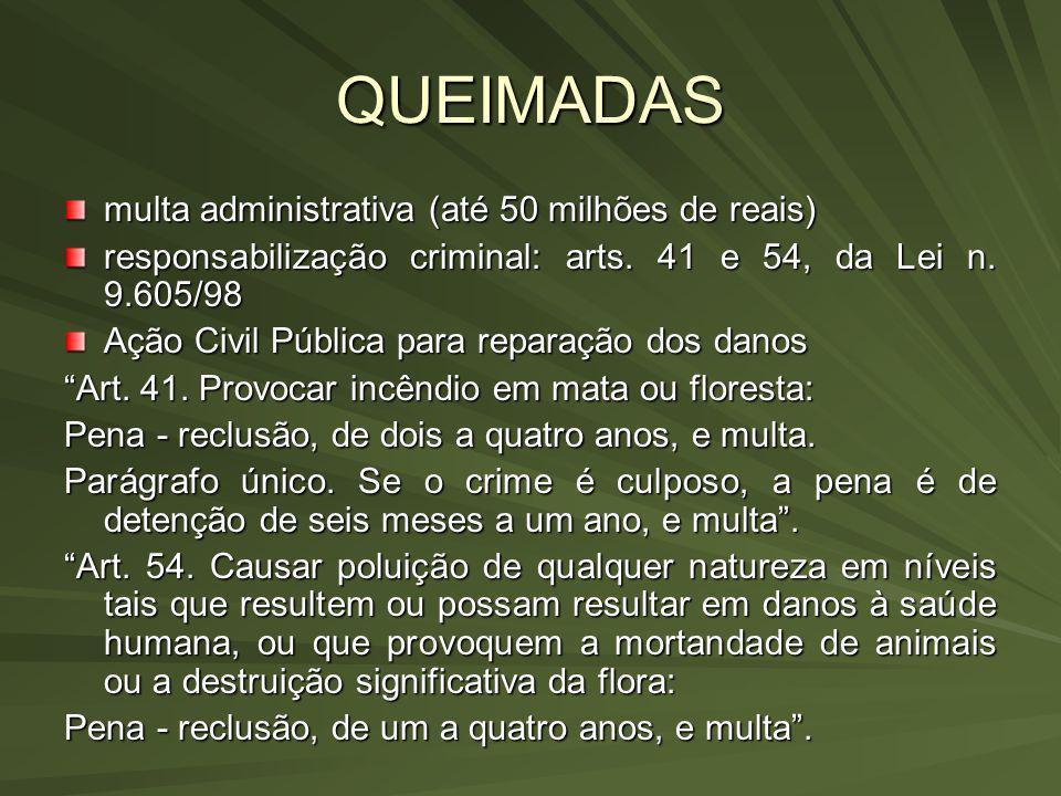 QUEIMADAS multa administrativa (até 50 milhões de reais)