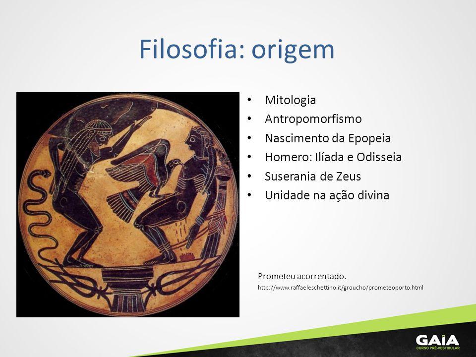 Filosofia: origem Mitologia Antropomorfismo Nascimento da Epopeia